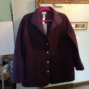Chicos quilted jacket deep plum